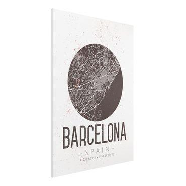 Alu-Dibond Bild - Stadtplan Barcelona - Retro