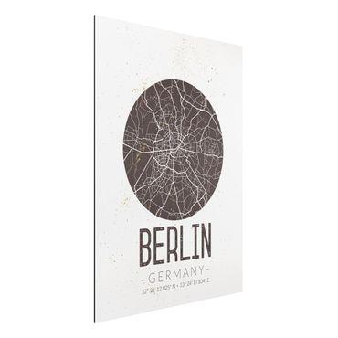 Alu-Dibond Bild - Stadtplan Berlin - Retro
