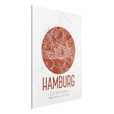 Alu-Dibond Bild - Stadtplan Hamburg - Retro
