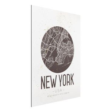 Alu-Dibond Bild - Stadtplan New York - Retro