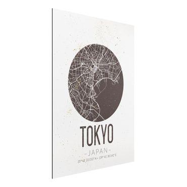 Alu-Dibond Bild - Stadtplan Tokyo - Retro