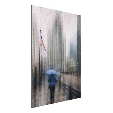 Aluminium Print - Verregnetes Chicago - Hochformat 4:3