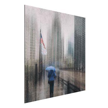 Aluminium Print - Verregnetes Chicago - Quadrat 1:1