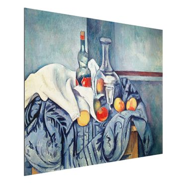 Alu-Dibond Bild - Paul Cézanne - Stillleben mit Pfirsichen und Flaschen