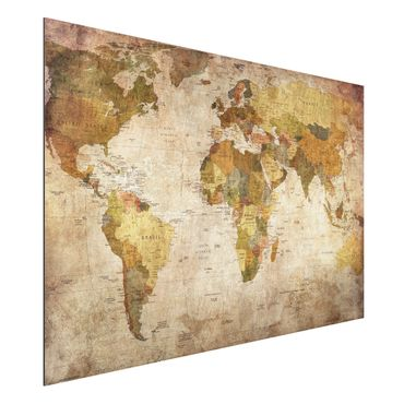 Alu-Dibond Bild - Weltkarte