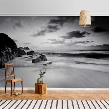 Metallic Tapete  - Am Meer in Cornwall Schwarz-Weiß