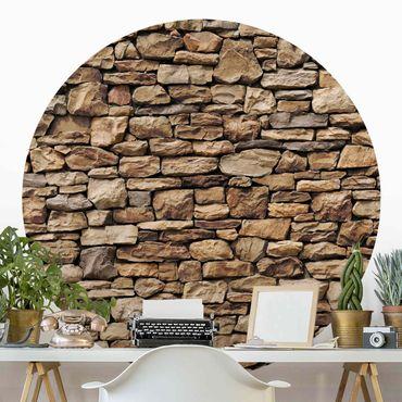Runde Tapete selbstklebend - Amerikanische Steinwand