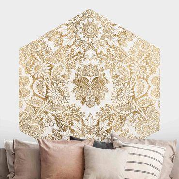 Hexagon Mustertapete selbstklebend - Antike Barocktapete in Gold