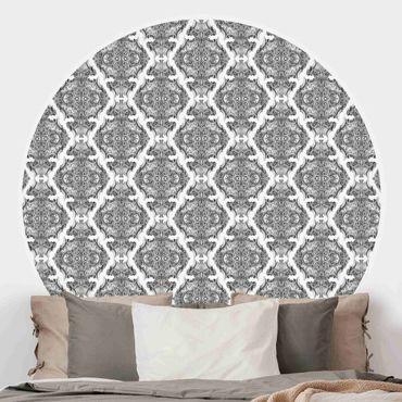 Runde Tapete selbstklebend - Aquarell Barock Muster in Grau