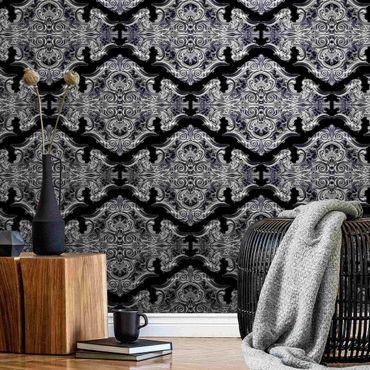 Metallic Tapete  - Aquarell Barock Muster mit Ornamenten vor Schwarz