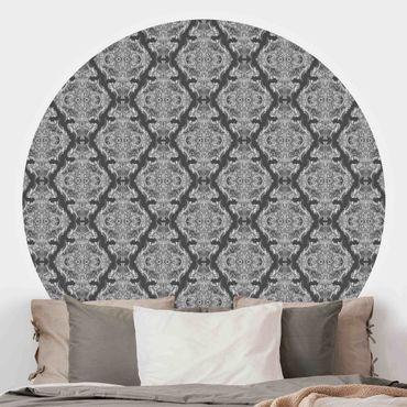 Runde Tapete selbstklebend - Aquarell Barock Muster vor Dunkelgrau