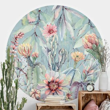 Runde Tapete selbstklebend - Aquarell Blühende Kakteen Bouquet