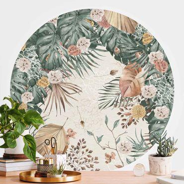 Runde Tapete selbstklebend - Aquarell getrocknete Blumen mit Farne