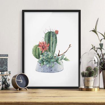 Bild mit Rahmen - Aquarell Kakteen Illustration - Hochformat