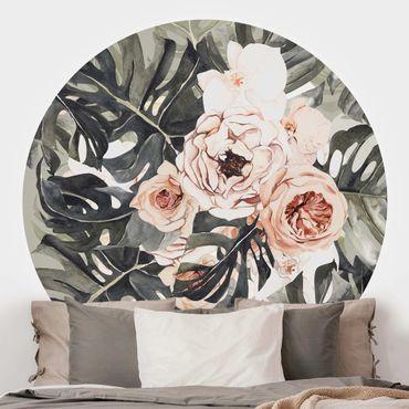 Runde Tapete selbstklebend - Aquarell Monstera Bouquet