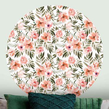Runde Tapete selbstklebend - Aquarell Rosa Blüten vor Weiß