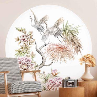Runde Tapete selbstklebend - Aquarell Störche im Flug mit Blumen