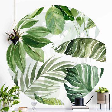 Runde Tapete selbstklebend - Aquarell Tropische Blätter und Ranken