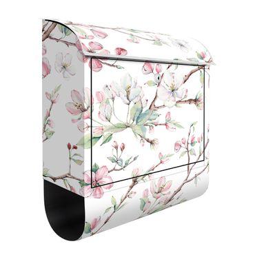 Briefkasten - Aquarell Zweige von Apfelblüten in Rosa und Weiß