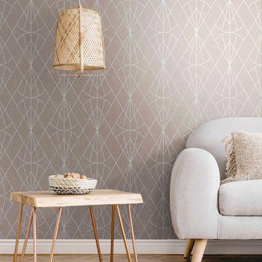 Metallic Tapete  - Art Deco Diamant Muster vor Beige XXL