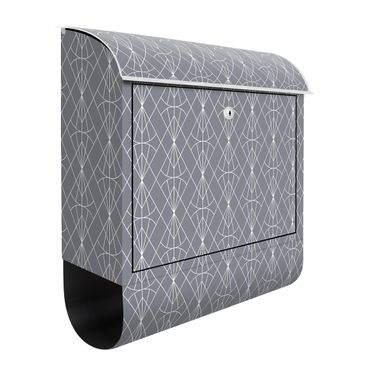 Briefkasten - Art Deco Diamant Muster vor Grau XXL