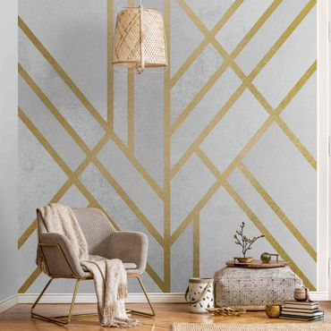 Metallic Tapete  - Art Deco Geometrie Weiß Gold