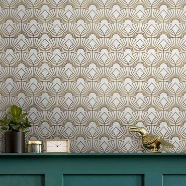 Metallic Tapete  - Art Deco Strahlende Bögen Linienmuster XXL