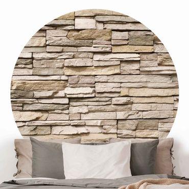Runde Tapete selbstklebend - Asian Stonewall - Steinmauer aus großen hellen Steinen