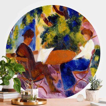 Runde Tapete selbstklebend - August Macke - Paar am Gartentisch