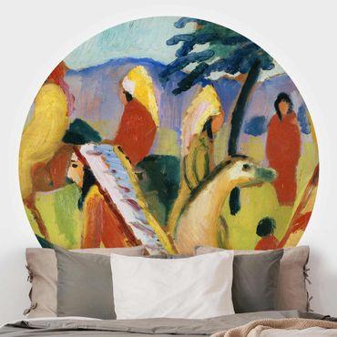 Runde Tapete selbstklebend - August Macke - Reitende Indianer beim Zelt