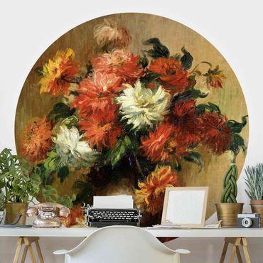 Runde Tapete selbstklebend - Auguste Renoir - Stillleben mit Dahlien