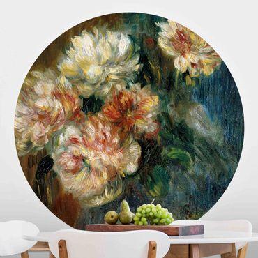 Runde Tapete selbstklebend - Auguste Renoir - Vase Pfingstrosen
