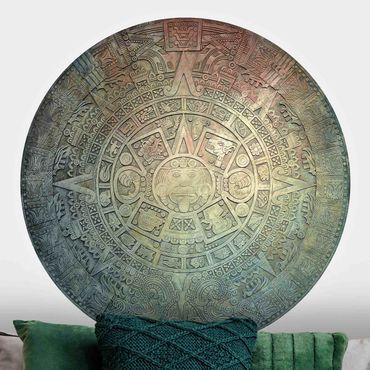 Runde Tapete selbstklebend - Azteken Ornamentik im Kreis