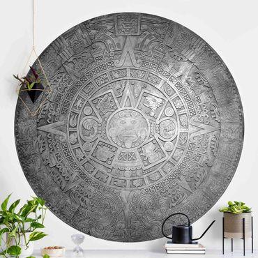 Runde Tapete selbstklebend - Azteken Ornamentik im Kreis Schwarz-Weiß