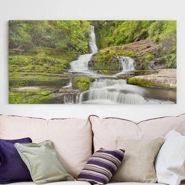 Leinwandbild - Upper McLean Falls in Neuseeland - Querformat 1:2