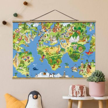 Stoffbild mit Posterleisten - Great and funny Worldmap - Querformat 3:2