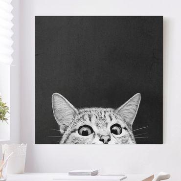 Leinwandbild - Illustration Katze Schwarz Weiß Zeichnung - Quadrat 1:1