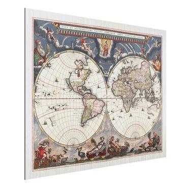Aluminium Print gebürstet - Historische Weltkarte Nova et Accuratissima von 1664 - Querformat 3:4