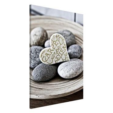 Magnettafel - Carpe Diem Herz mit Steinen - Memoboard Hochformat 3:2