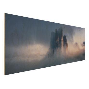 Holzbild - Drei Zinnen in blauem Licht - Panorama