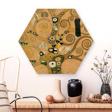 Hexagon Bild Holz - Gustav Klimt - Der Lebensbaum