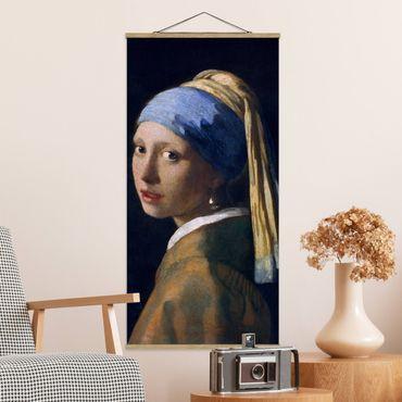 Stoffbild mit Posterleisten - Jan Vermeer van Delft - Das Mädchen mit dem Perlenohrgehänge - Hochformat 1:2