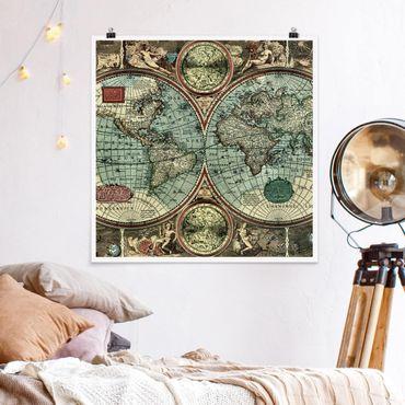Poster - Die alte Welt - Quadrat 1:1