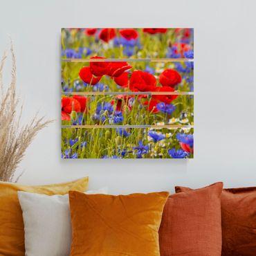 Holzbild - Sommerwiese mit Mohn und Kornblumen - Quadrat 1:1