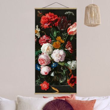Stoffbild mit Posterleisten - Jan Davidsz de Heem - Stillleben mit Blumen in einer Glasvase - Hochformat 1:2