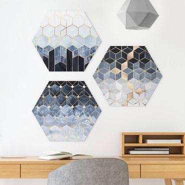 Hexagon Bild Forex 3-teilig - Elisabeth Fredriksson - Blau Weiß goldene Sechsecke Set