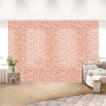 Schiebegardinen Set - Erdbeerinchen Erdbeerfee - Erdbeerblüten - Flächenvorhänge