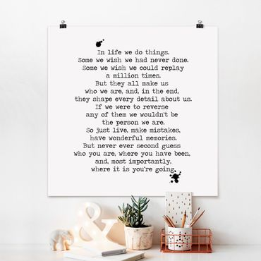 Poster - In life we do things - Quadrat 1:1