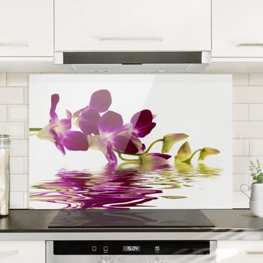 Spritzschutz Glas - Pink Orchid Waters - Querformat - 3:2