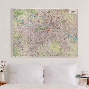 Leinwandbild - Vintage Stadtplan Berlin - Querformat 3:4